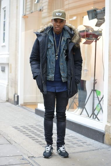 A winter warming look with faux fur hooded coat, denim jacket and skinny jeans.