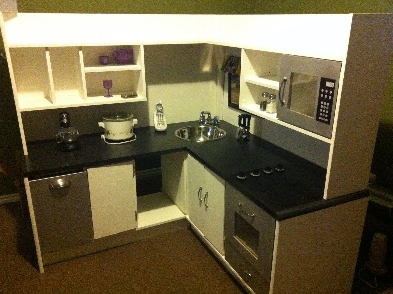 Diy Play Kitchen From Corner Desk Tutorials For Sink Dishwasher Microwave