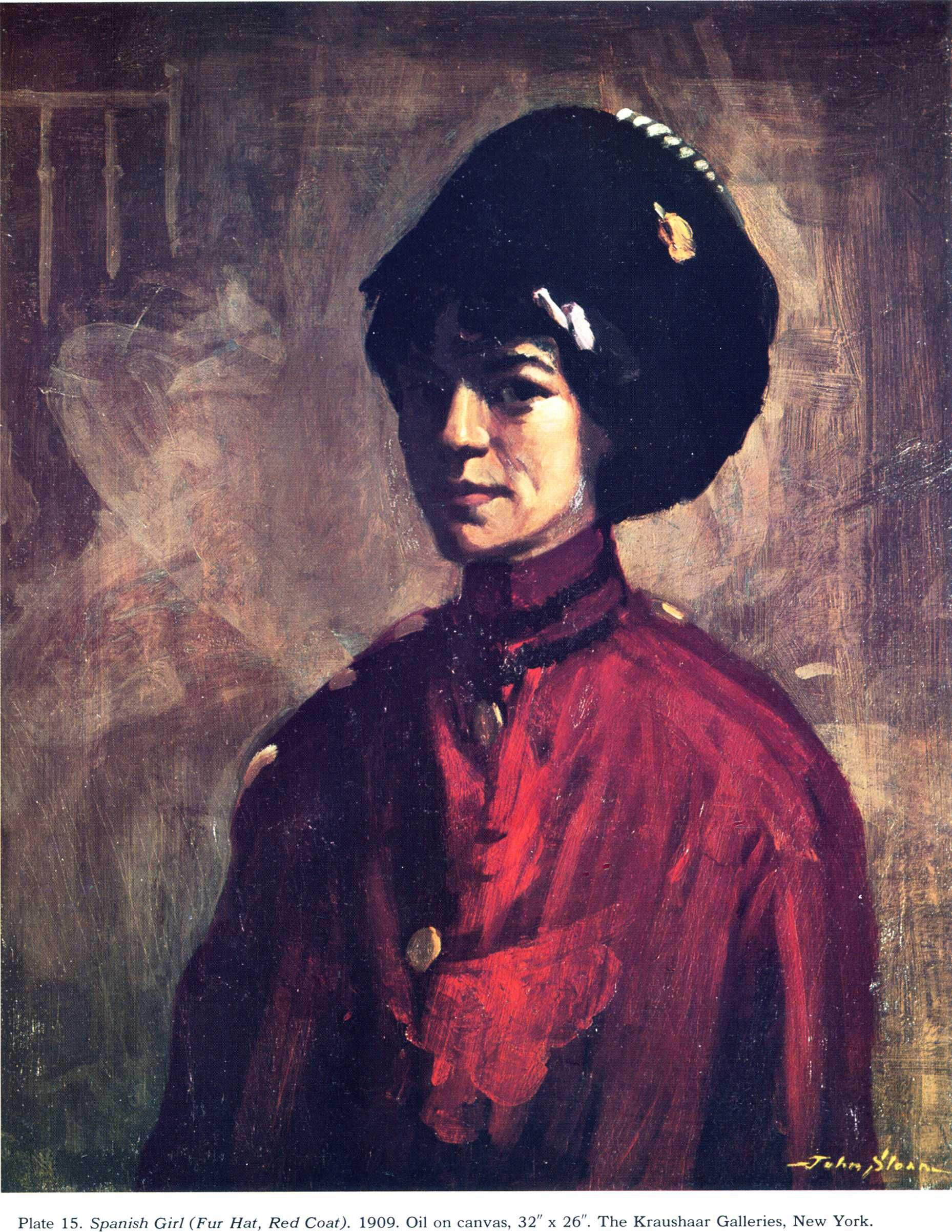 Spanish Girl (Fur Hat, Red Coat), 1909 John French Sloan