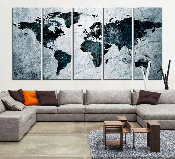 Canvas art print world map canvas print x large art watercolor world map