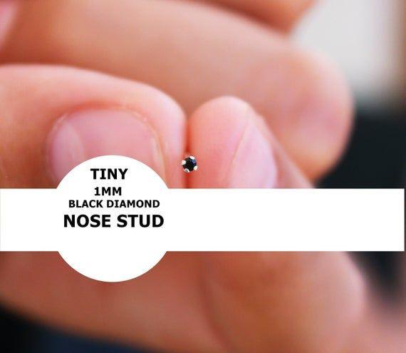 Tiny 1mm Nose Stud Black Diamond Nose Stud Teeny Tiny Nose Ring Stud Diamond Micro Nose Stud Nose Piercings