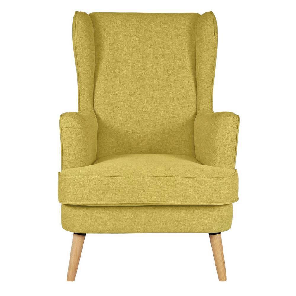Buy Argos Home Callie Fabric Wingback Chair - Mustard Yellow