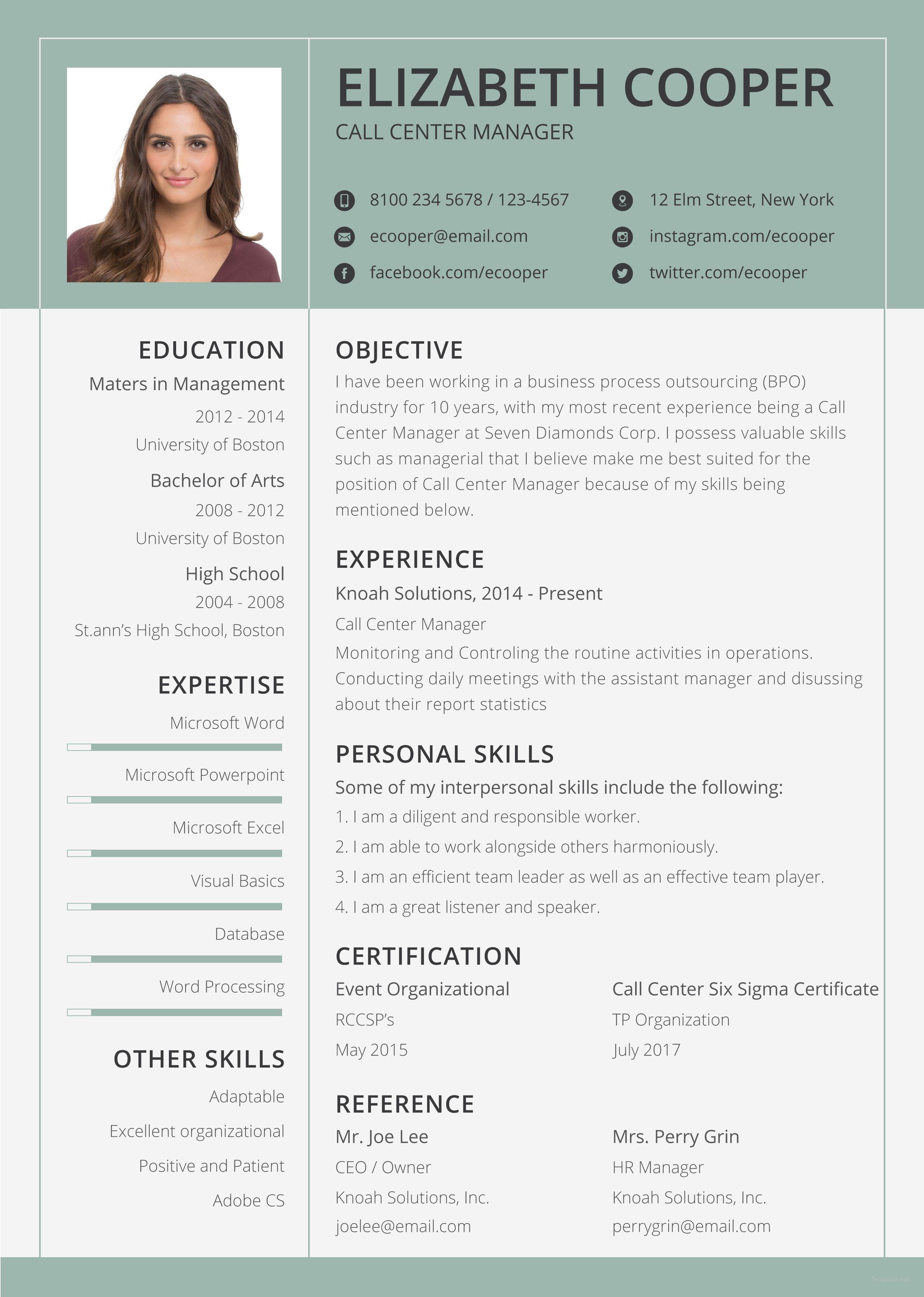 Free bpo resume clean resume template downloadable