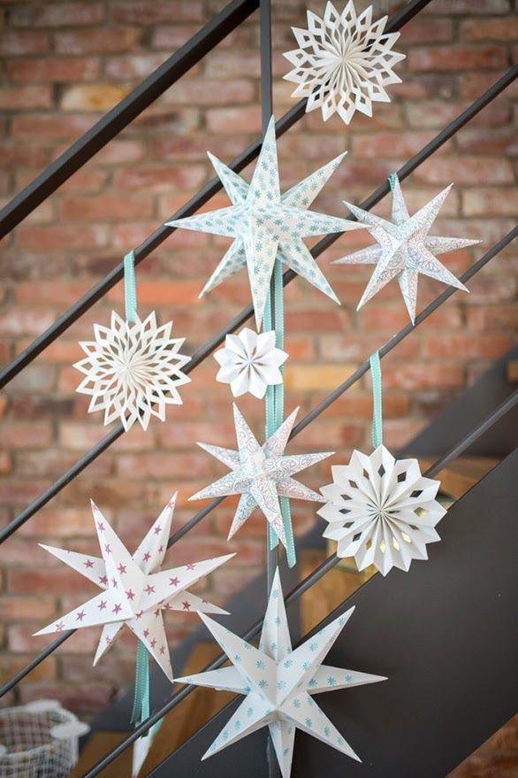 Diy papel navidad hazlo tu estrellas papel decoracion - Decoracion navidad papel ...