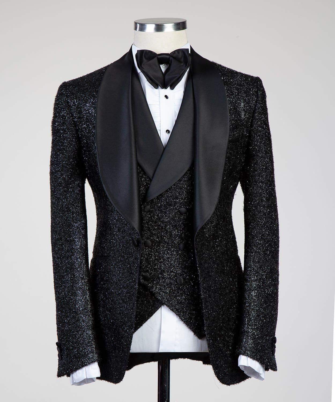 Men S Glittering Black 3pcs Suit Dress Suits For Men Fashion Suits For Men Tuxedo For Men [ 1500 x 1250 Pixel ]