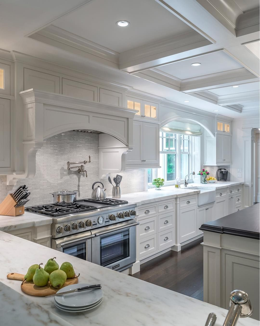 Boston Design Guide On Instagram White Kitchens And Dark Wood Floors Always A Winning Pair White Kitchen Design Kitchen Renovation Kitchen Cabinet Design