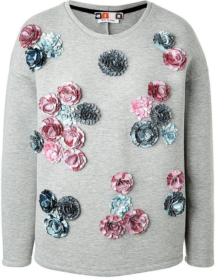 b8aeadd1 MSGM Flower Embellished Scuba Sweatshirt on shopstyle.com ...