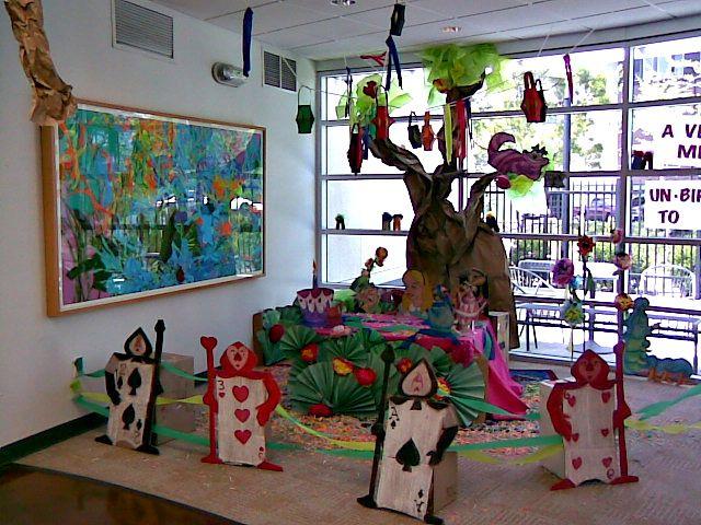 Alice In Wonderland Classroom Decoration Ideas ~ Library display celebrating springtime ideas