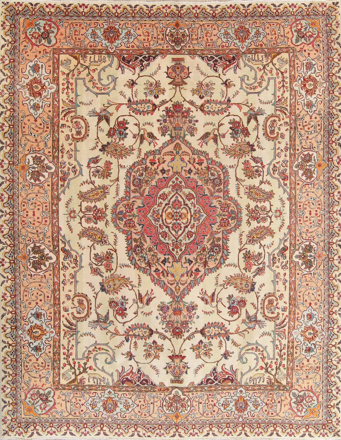 Floral Muted Kashmar Persian Hand Knotted 10x12 Wool Area Rug Wool Area Rugs Rugs Persian Area Rugs
