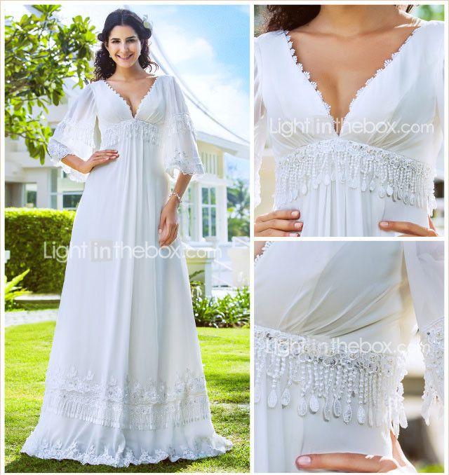Sheath/Column Plus Sizes Wedding Dress - Ivory Floor-length V-neck Chiffon