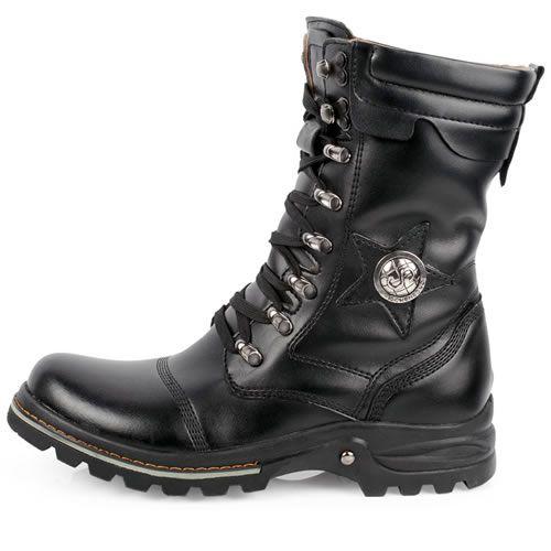 ab8ab4ac1 Men Black Leather Lace Up Gothic Punk Biker Fashion Battle Boots Hot SKU -1280524