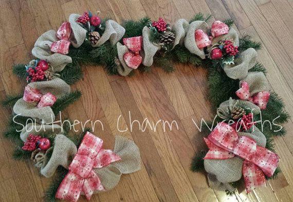6ft greenery burlap christmas garland - Burlap Christmas Garland