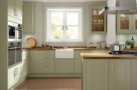 Green And Timber Kitchens Google Search Green Kitchen Cabinets