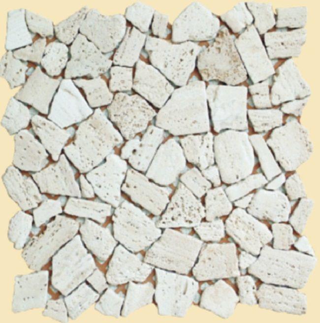 foto de pedazos del azulejo de mosaico del travertino patrn de mosaico de piedra irregular