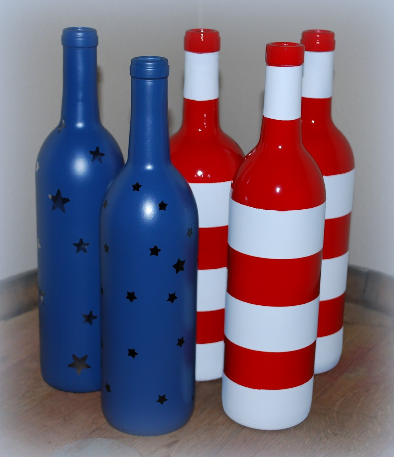 Stars And Stripes Painted Glass Bottles Spray Painted Bottles Bottles Decoration