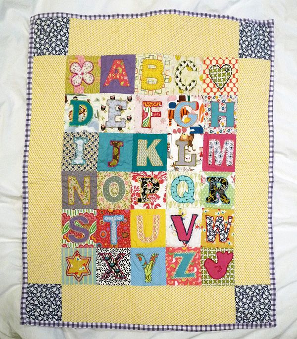 Alphabet quilt what a cute idea quilt emboidery and alphabet quilt with blue border and fun spiritdancerdesigns Images