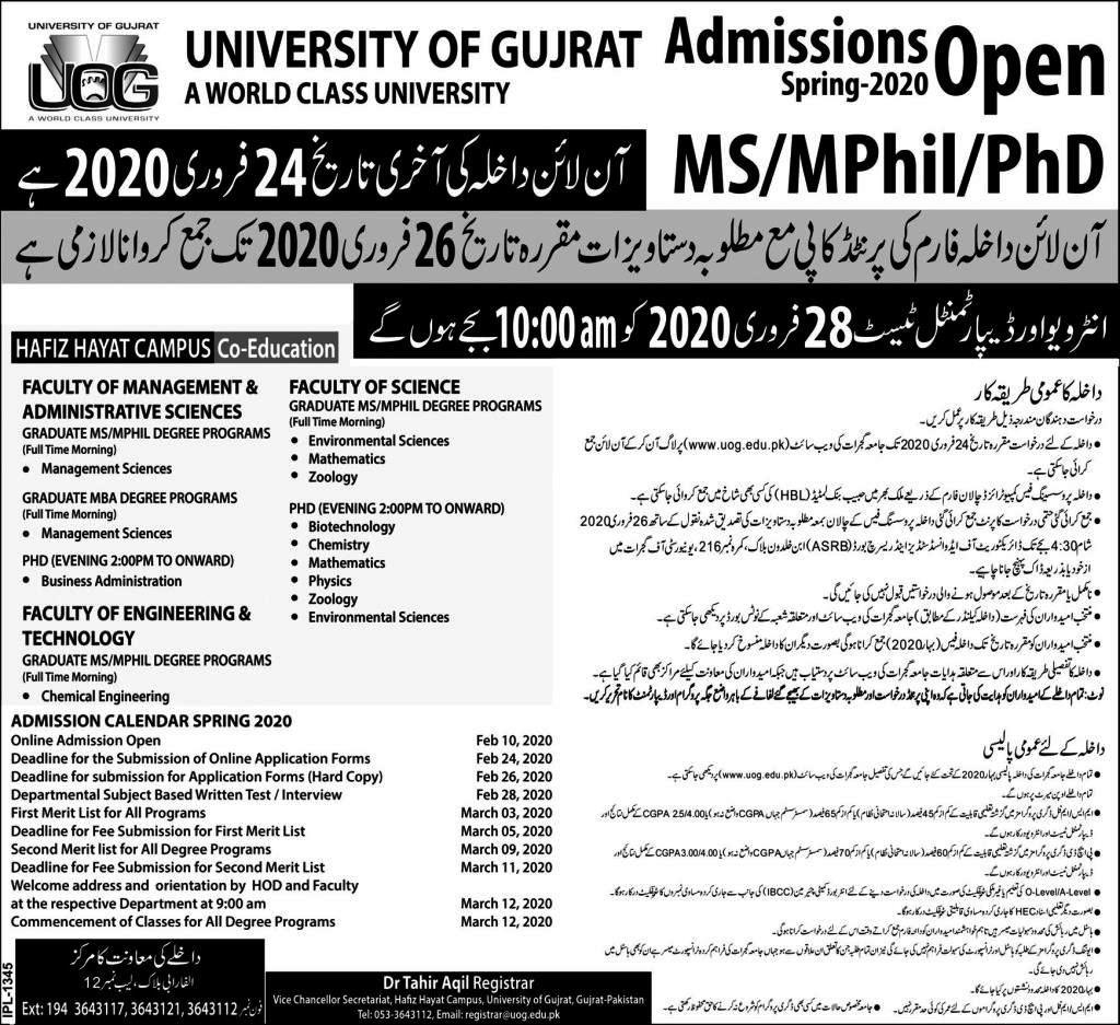 University of Gujrat(UOG) MS/MPhil/Ph.D Admission 2020 in