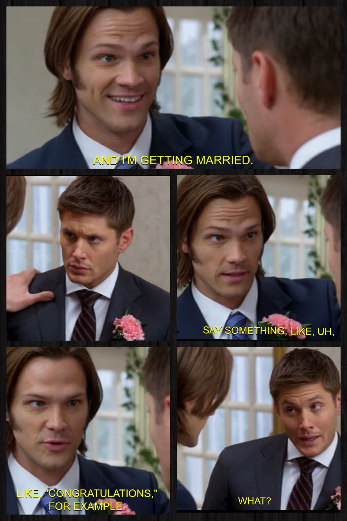 Dean's reaction!!   Supernatural: Season 7 Time for a Wedding!
