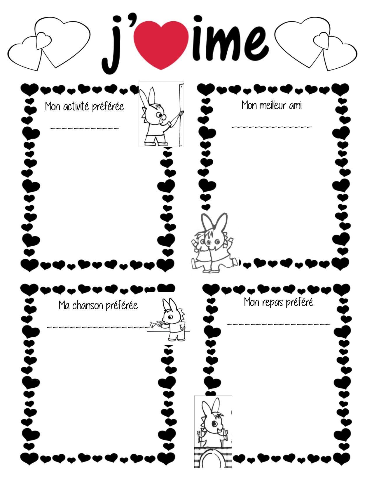 Document Pour La Saint Valentin Ce Que J Aime Faire Dans