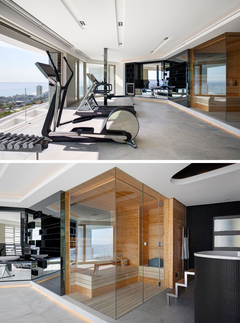In This Modern Home Gym There S A Spa Bathroom With A Sauna And Chiller Bath Mirrors Above A Vanity Reflect The Dream Home Gym Home Spa Room Gym Room At Home