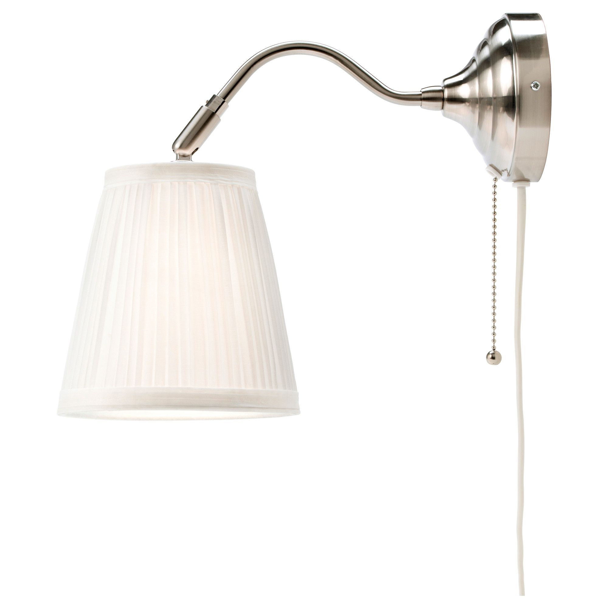 IKEA ÅRSTID Wall Lamp Nickel Plated/white You Can Create A Soft, Cosy  Atmosphere In Your Home With A Textile Shade That Spreads A Diffused And  Decorative.