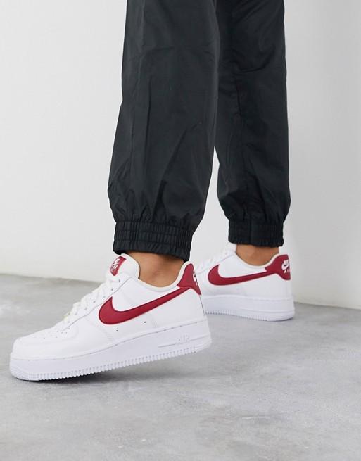 Burgundy sneakers, Nike air force white