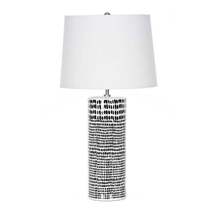 Black Dot White Ceramic Table Lamp White Ceramic Lamps White Lamp Shade Table Lamp Black and white table lamp