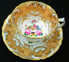 JACKSON GOLSLING GROSVENOR YE OLDE ENGLISH SIGNED PEACH GOLD TEA CUP AND SAUCER