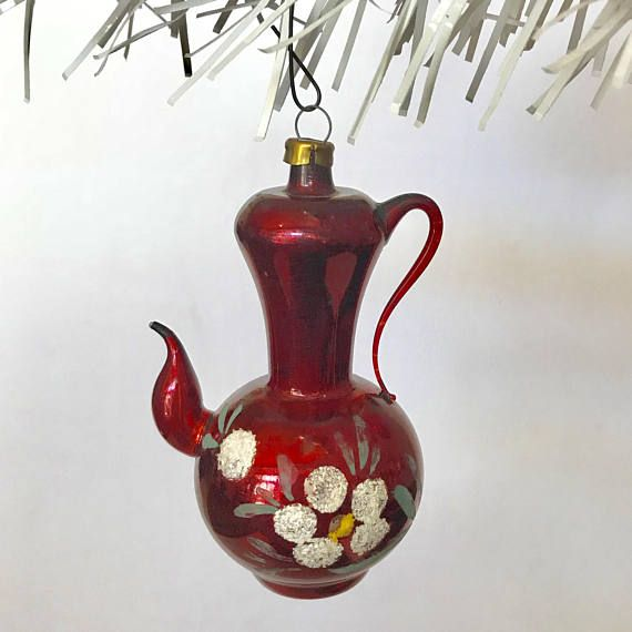 Vintage 1940 Glass Teapot Christmas Tree Ornament Red Figural Glass Teapot Yellow Glitter Paint Christmas Tree Ornaments
