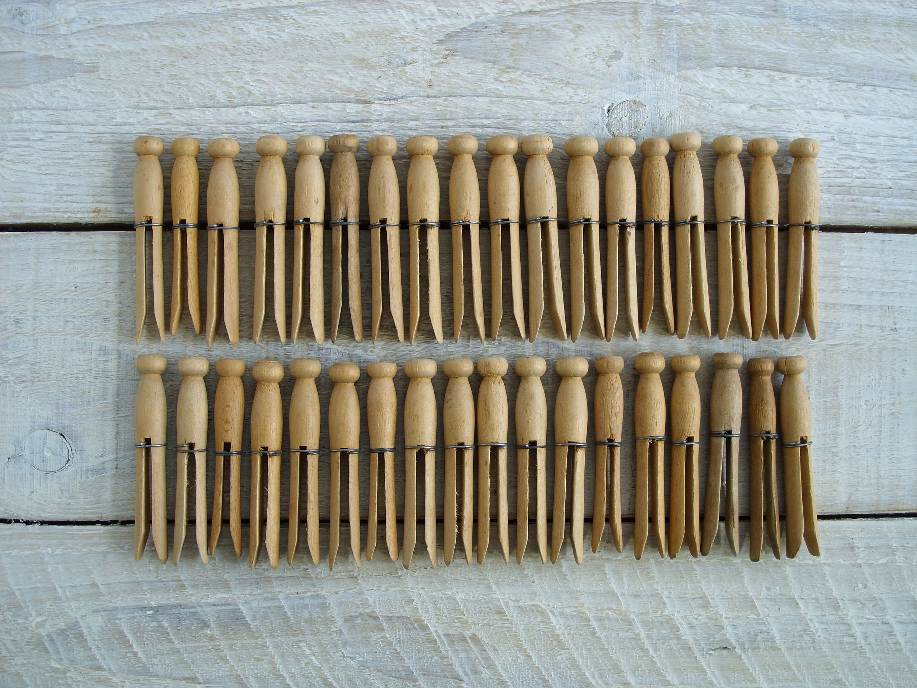 Vintage Wooden Clothespins 35 Wire Bound Round Wood Peg Clothes