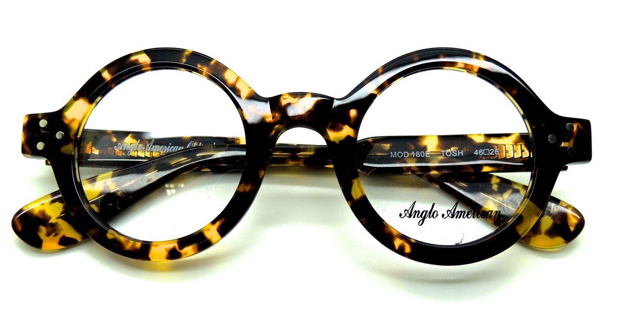 fa6e37daf621 Anglo American 180E Thick Rimmed Round Glasses Tortoiseshell Effect (TOSH)