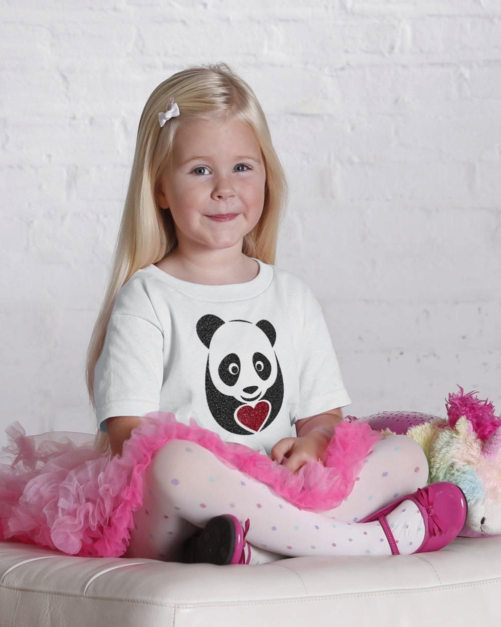 Panda love  Glitter youth and Toddler T shirt – Panda love  Glitter youth and Toddler  graphic