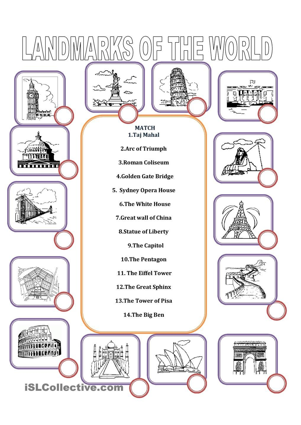worksheet Liberty Kids Worksheets landmarks of the world pinterest worksheets mahal coliseum gate sydney opera house white wall liberty pentagon eiffel great sphinx tower big ben esl worksheets