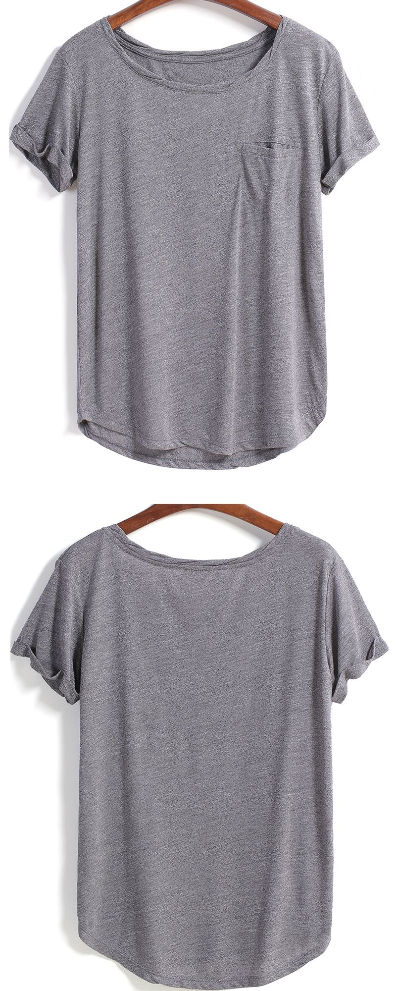 Grey Short Sleeve Pocket Loose BlouseFor Women-romwe. Plain T ShirtsGrey ...