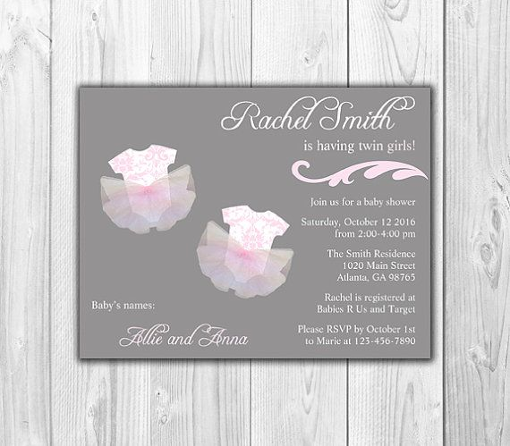 Download Now Twin Girl Baby Shower Invitations FREE Baby Shower