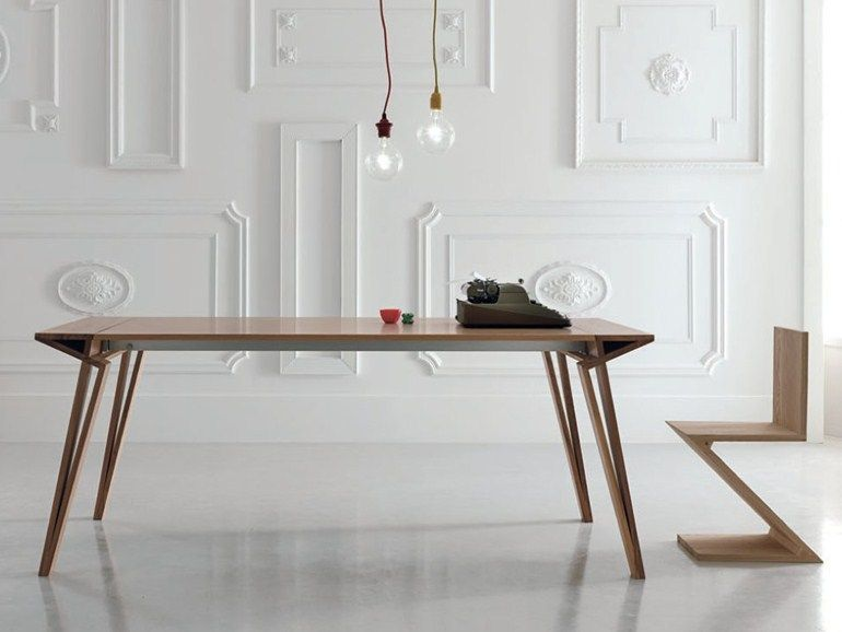 Alivar Sedie ~ Extending lacquered rectangular wooden table oblique by alivar