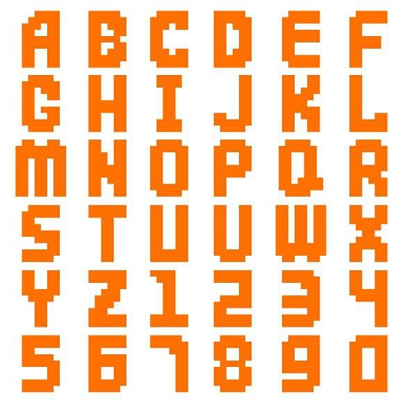 Pixel Alphabet Digital Type Vector