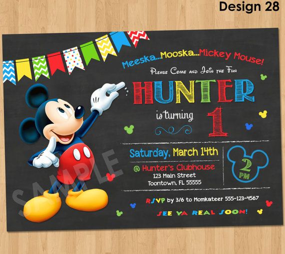 Chalkboard Mickey Mouse Clubhouse 1st Birthday Invitations