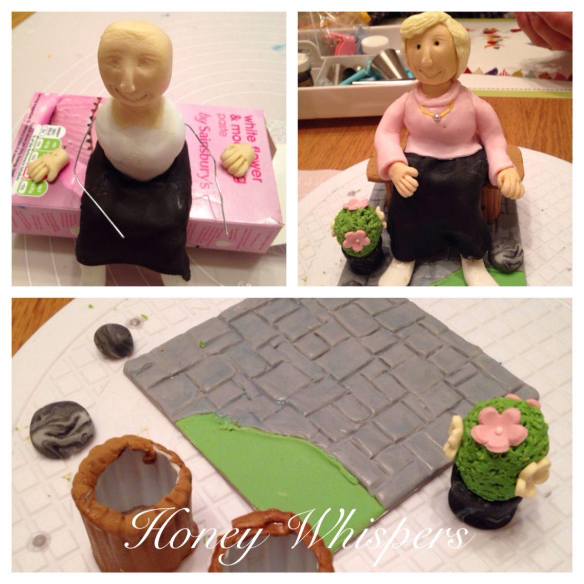 Lady on garden bench, fondant icing cake topper. www.honeywhispers ...