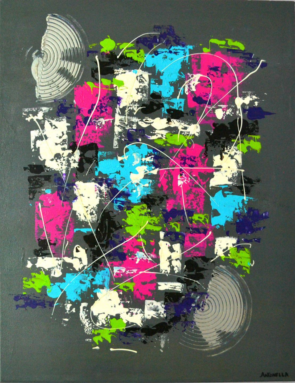 Tableau moderne design coloré abstrait - Tableau contemporain ...
