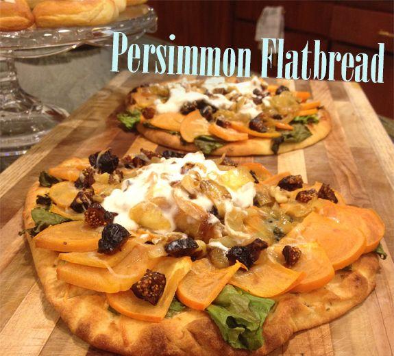 Mediterranean Persimmon Flatbread http://www.pasta.com/recipe/persimmon-flatbread Mediterranean flatbread, fruit snack, fruit sandwich, healthy snack, healthy sweet bread, Mediterranean diet, sweet appetizer, vegetarian
