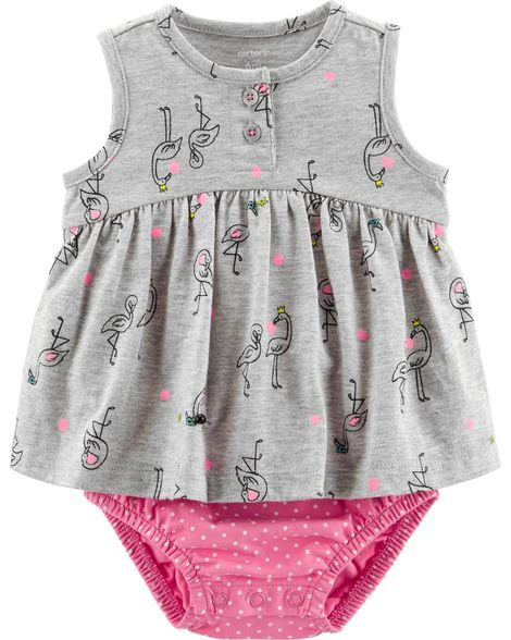 020456af332c Baby Girl Flamingo Jersey Sunsuit from Carters.com. Shop clothing    accessories from a