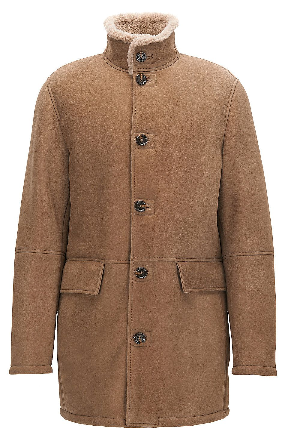 Regularfit heavyweight suede leather coat Light Brown