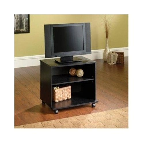 Rolling Tv Stand Portable Cart Mobile Wheels Media Entertainment