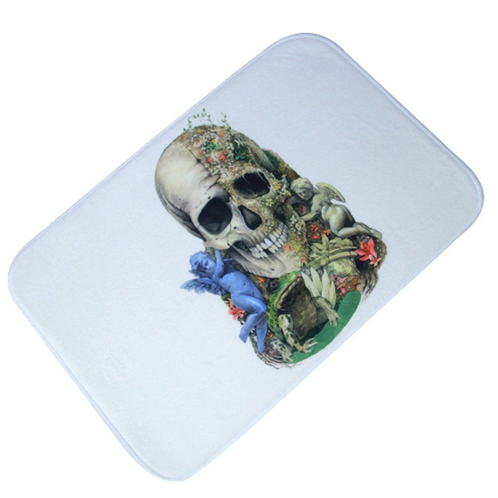 Yontree Halloween Modern Indoor Cushion Kitchen Rug No Silp Floor Mat Skull  Design **