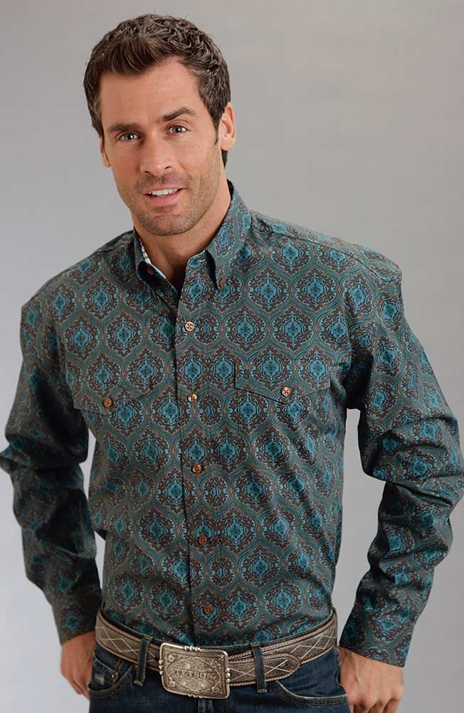 Stetson Mens Long Sleeve Print Button Down Western Shirt - Brown ...