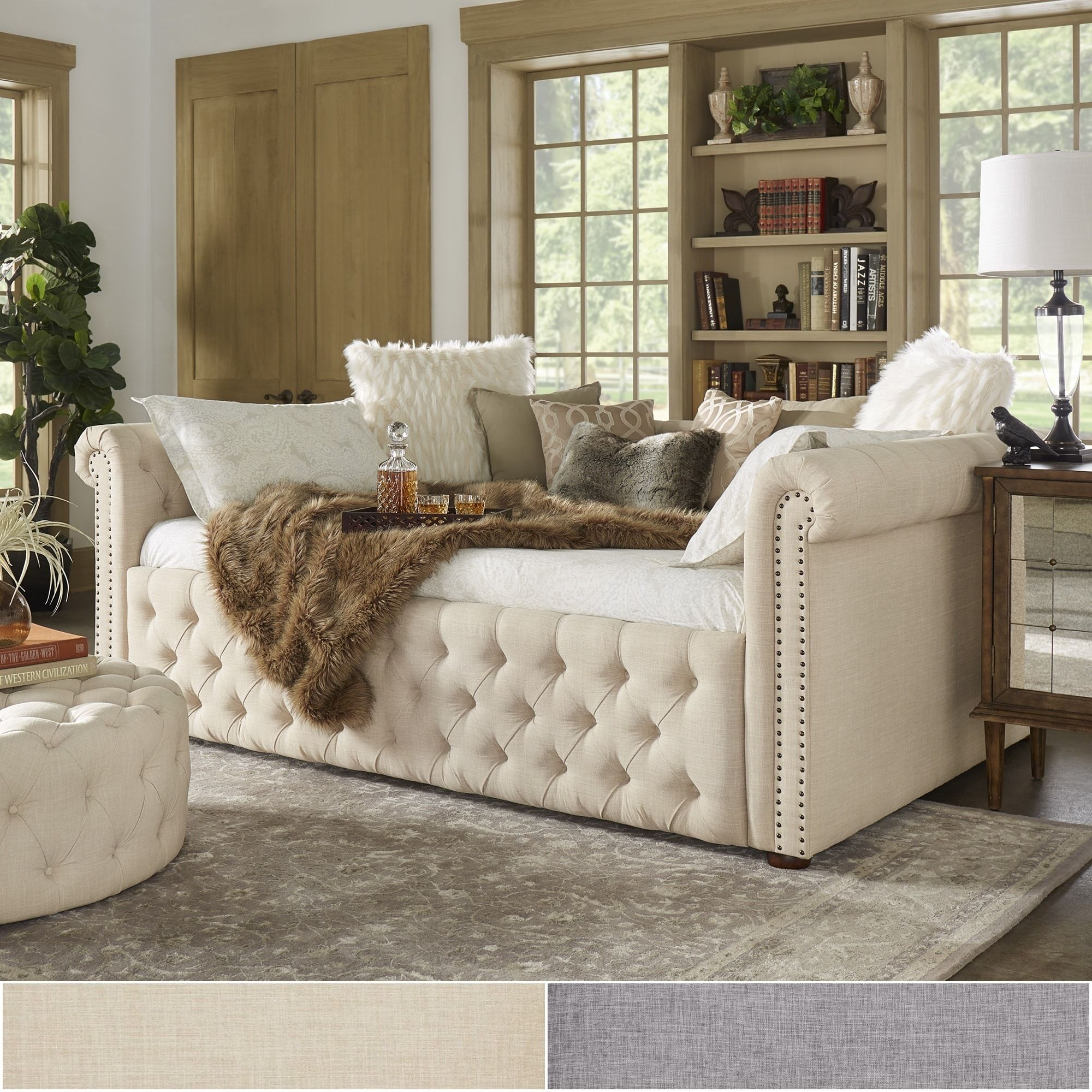 Knightsbridge Full Size Tufted Scroll Arm Chesterfield Daybed and Trundle  by iNSPIRE Q Artisan (Beige Linen Daybed Without Trundle)