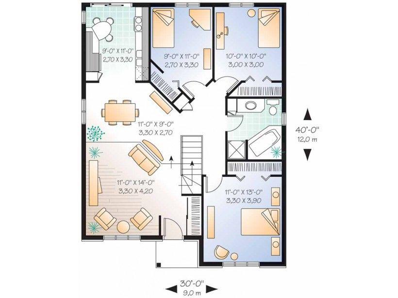Modern Style House Plan 3 Beds 1 Baths 1131 Sq Ft Plan 23 176 Modern Style House Plans House Plans Floor Plan Design