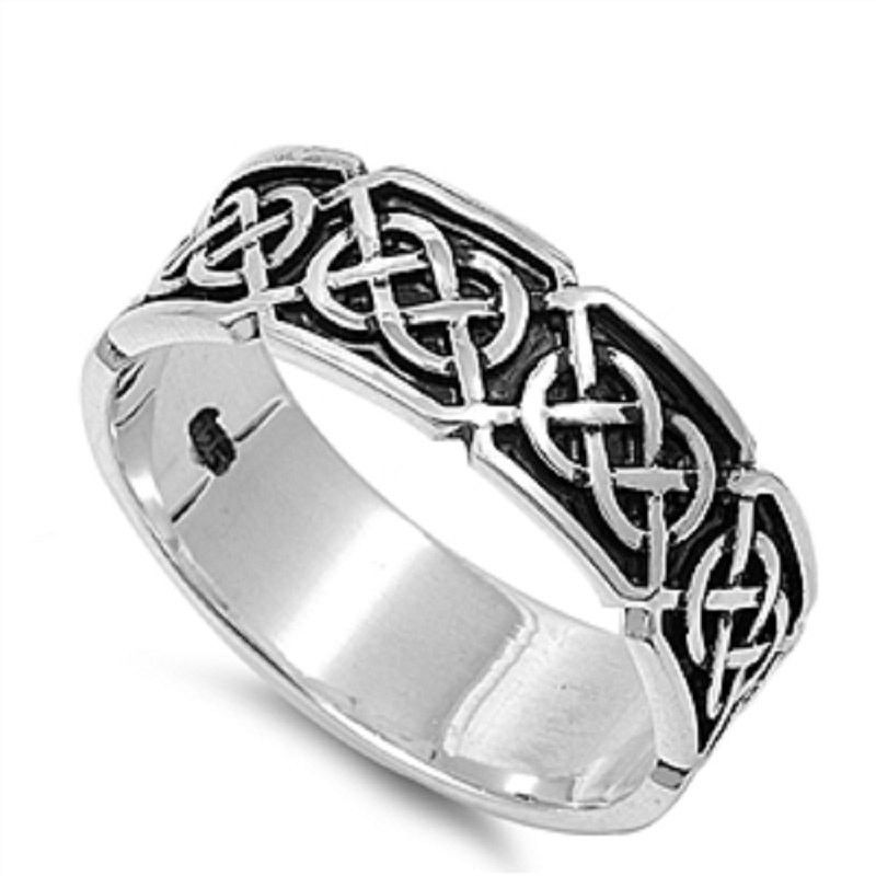 7mm Black Celtic Design Ring Solid 925 Sterling Silver Celtic
