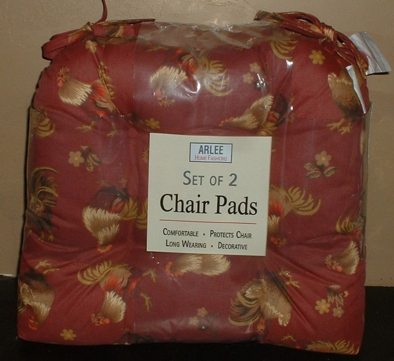 4pc Rooster Chair Pads En Cushions Set Country Farm Kitchen Decor
